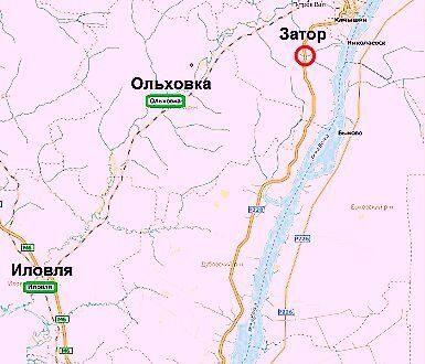 Схема объезда и место образования затора в Волгоградской области.